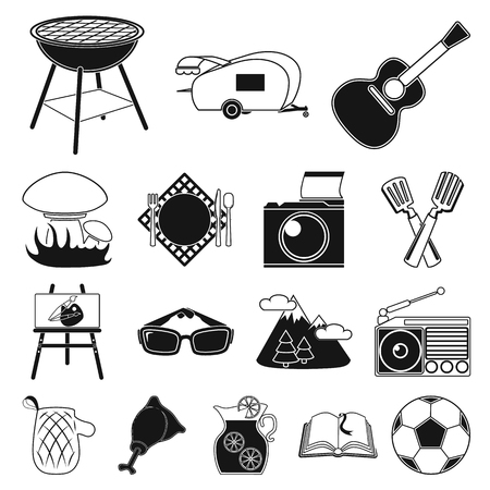 Picnic and equipment black icons in set collection for design.