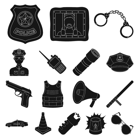 Police black icons in set collection for design.