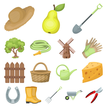 Farm and gardening cartoon icons in set collection for design. Illustration