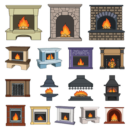 Different kinds of fireplaces cartoon icons in set collection for design. 일러스트