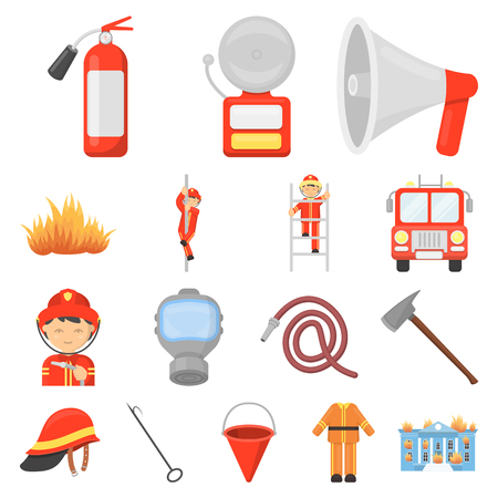 Fire Department cartoon icons in set collection for design.