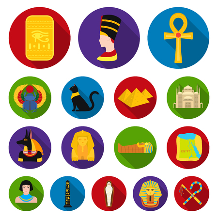 Ancient Egypt flat icons in set collection for design.