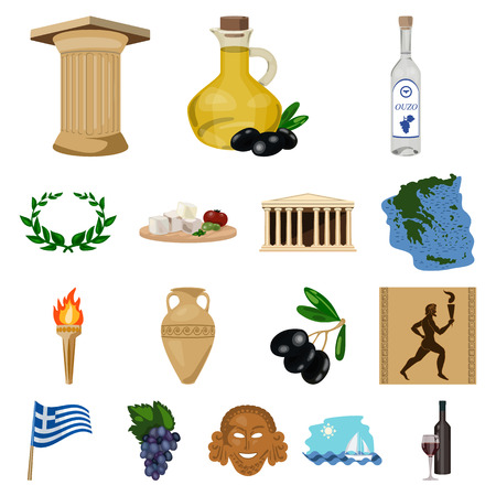 Country Greece cartoon icons in set collection for design.Greece and landmark vector symbol stock  illustration.