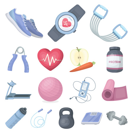 Gym and training cartoon icons in set collection for design. Gym and equipment icons in set collection for design.