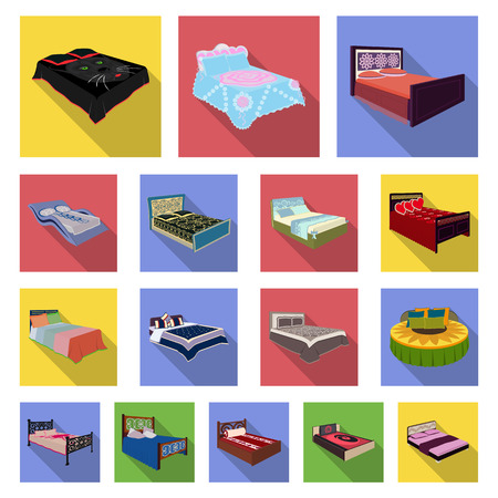 Different beds flat icons in set collection for design.