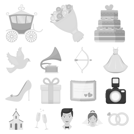 Wedding and Attributes monochrome icons Vectores