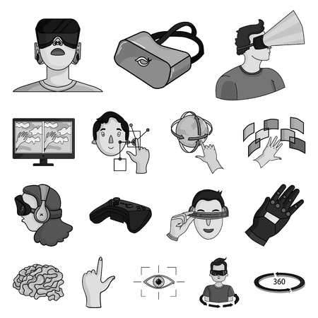 A virtual reality  icons in set collection for design. Illustration