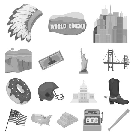 USA country icons in set collection for design.