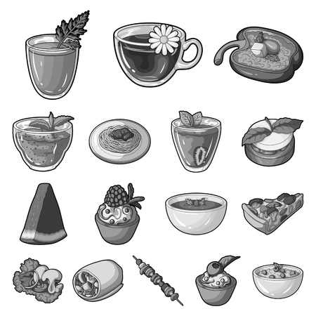 Vegetarian dish icons in set collection for design.  イラスト・ベクター素材