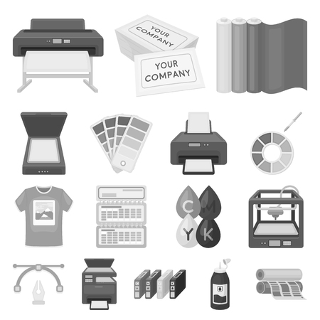 Typographical products icons in set collection for design.