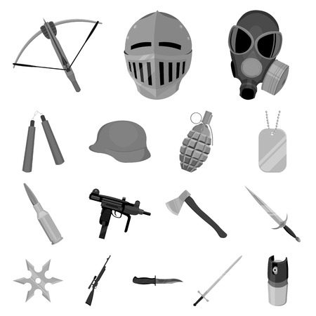 Types of weapons monochrome icons in set collection for design.Firearms and bladed weapons vector symbol stock  illustration.