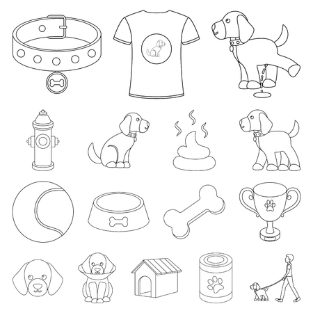 Pet dog outline icons in set collection for design. Caring for the puppy vector symbol stock  illustration.