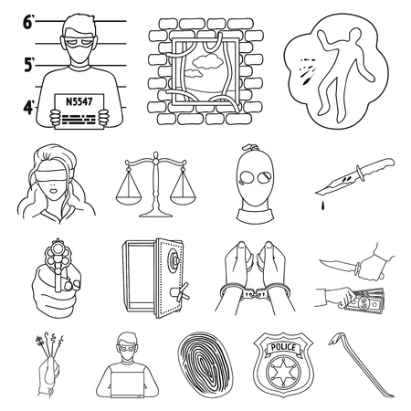 Crime and Punishment outline icons in set collection for design.Criminal vector symbol stock  illustration. Иллюстрация