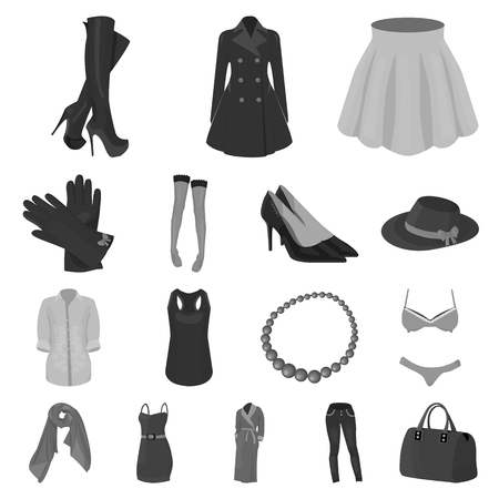 Women's Clothing monochrome icons in set collection for design.Clothing Varieties and Accessories vector symbol stock  illustration. Illustration