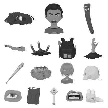 Zombies and Attributes monochrome icons in set collection for design. Dead man vector symbol stock  illustration. Illustration