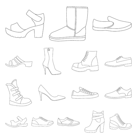 Different shoes outline icons set