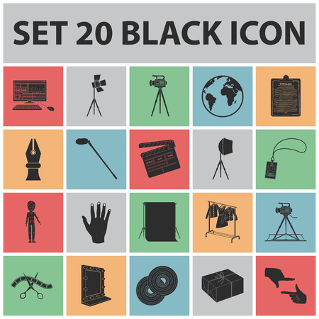 Making a movie black icons in set collection for design, Attributes and Equipment symbol stock illustration.