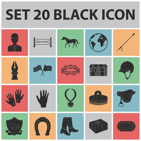 Hippodrome and horse black icons in set collection for design. Horse Racing and Equipment vector symbol stock  illustration.