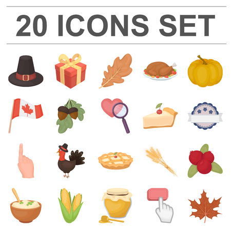 Canada Thanksgiving Day cartoon icons in set collection for design. Canada and Tradition vector symbol stock  illustration. Ilustração