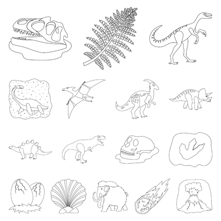 Different dinosaurs outline icons in set collection for design. Prehistoric animal vector symbol stock  illustration.