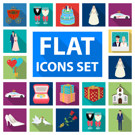 Wedding and Attributes flat icons in set collection for design. Newlyweds and Accessories vector symbol stock  illustration. Иллюстрация