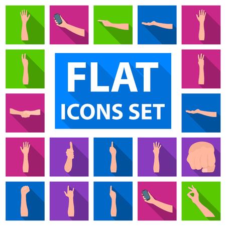 Les gestes et leur signification plats icônes dans la collection de jeu pour la conception. Une partie émotionnelle de la communication stock symbole illustration.