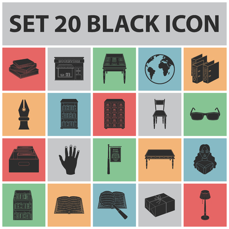 Library and bookstore black icons in set collection for design.