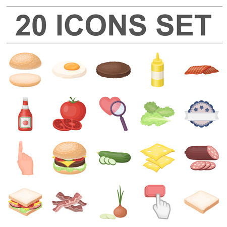 Burger and ingredients cartoon icons in set collection for design. Vettoriali