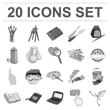 Painter and drawing monochrome icons in set collection for design. Artistic accessories vector symbol stock  illustration.