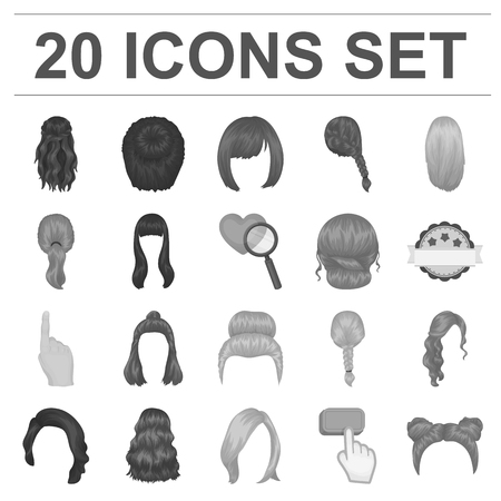 Female hairstyle icons in set collection for design.