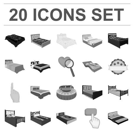 Different beds icons in set collection for design. Illusztráció