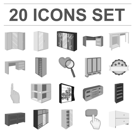 Bedroom furniture icons in set collection for design.
