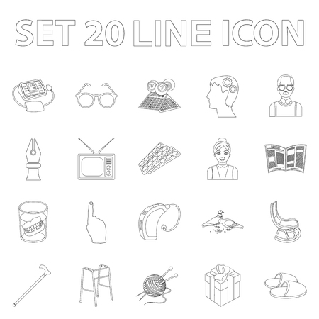 Human old age outline icons in set collection for design. Pensioner, period of life vector symbol stock  illustration.