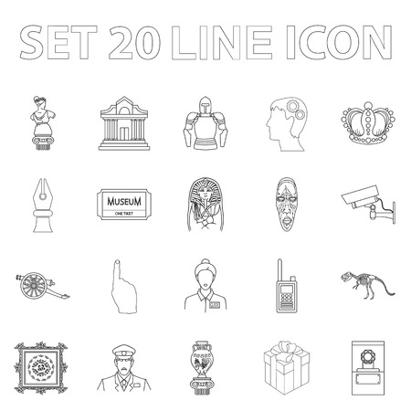 Museum and gallery outline icons in set collection for design. Storage and exhibition of showpiece vector symbol stock  illustration.