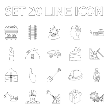 A Mining industry outline icons in set collection for design. Equipment and tools vector symbol stock illustration.