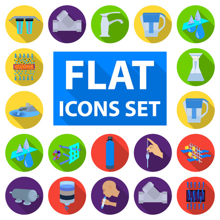 Water filtration system flat icons in set collection for design. Illustration