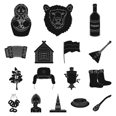 Country Russia, travel black icons in set collection for design. Attractions and features vector symbol stock web illustration. Çizim