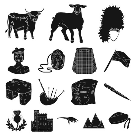 Country Scotland black icons in set collection for design. Sightseeing, culture and tradition vector symbol stock  illustration. Illusztráció