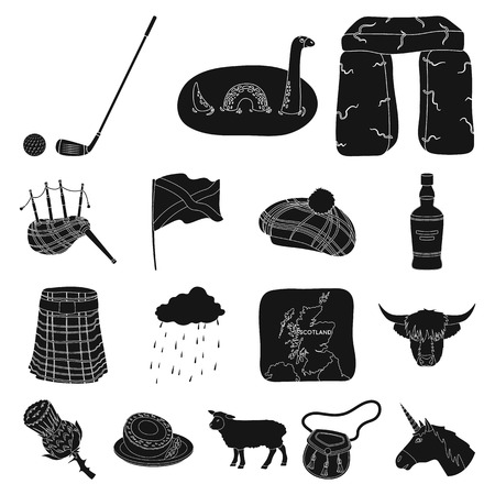 Scotland black icons in set design ideas. Illustration