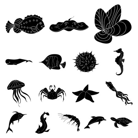 A variety of marine animals black icons in set collection for design. Fish and shellfish vector symbol stock  illustration.