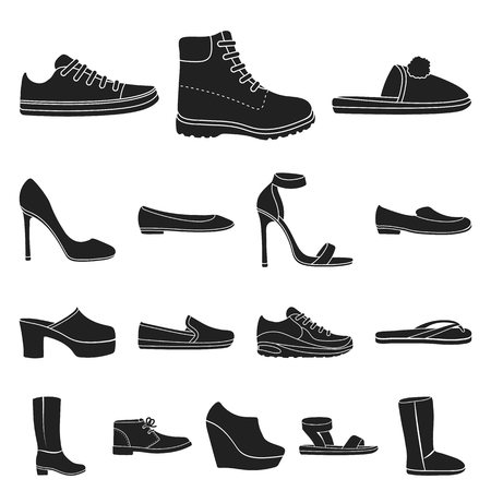 A variety of shoes black icons in set collection for design. Boot, sneakers vector symbol stock  illustration. Vettoriali