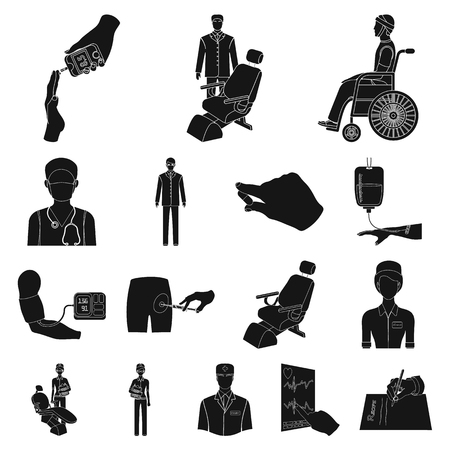 Medicine and treatment black icons in set collection for design.Hospital and equipment vector symbol stock illustration. Illustration
