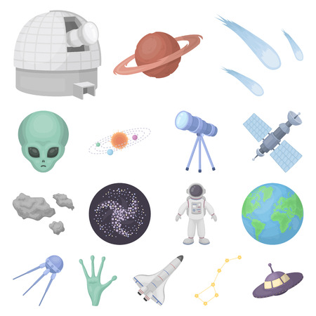 Space technology cartoon icons in set collection for design.Spacecraft and equipment vector symbol stock  illustration. 일러스트