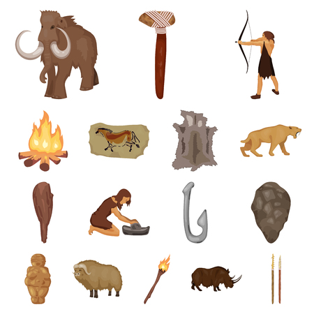 Life in the Stone Age cartoon icons in set collection for design. Ancient people vector symbol stock  illustration. Illustration