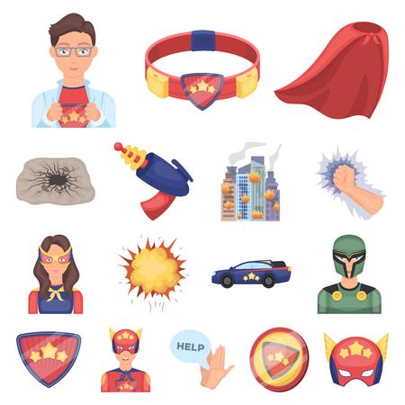 A fantastic superhero cartoon icons in set collection for design. Superheros equipment vector symbol stock  illustration.