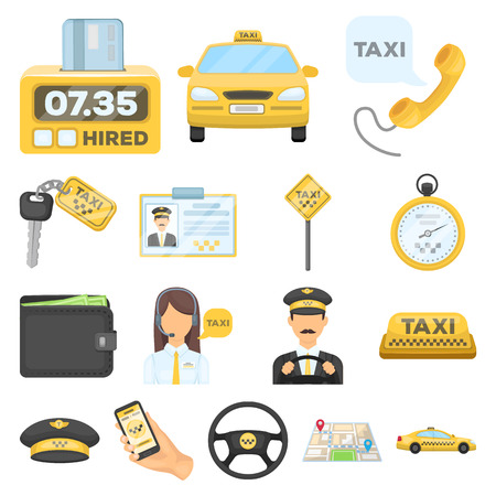 Taxi service cartoon icons in set collection for design. Taxi driver and transport vector symbol stock  illustration. Vettoriali