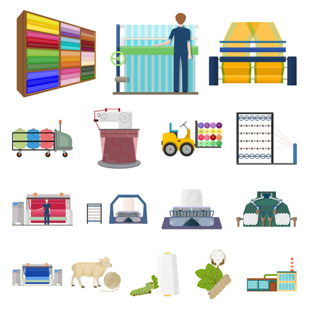 Set of textile industry concept cartoon icons.