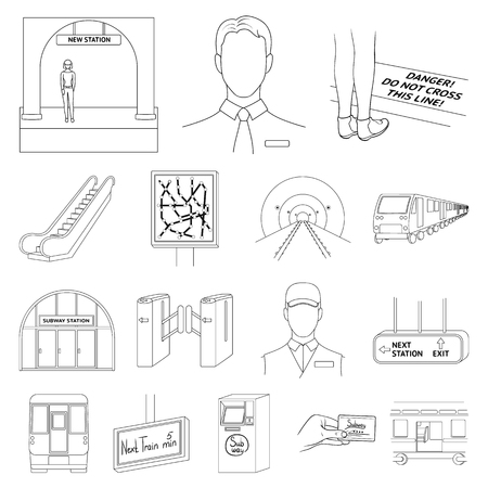 Metro, subway outline icons in set collection for design.Urban transport vector symbol stock  illustration. Illustration