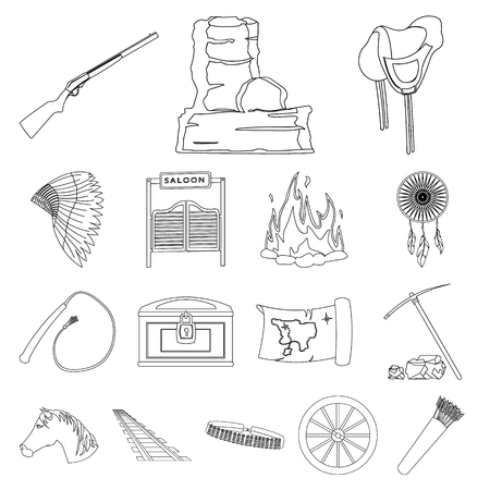 Attributes of the wild west outline icons in set collection for design.Texas and America vector symbol stock  illustration. Illustration