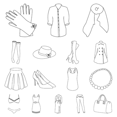 Womens Clothing outline icons in set collection for design.Clothing Varieties and Accessories vector symbol stock web illustration.